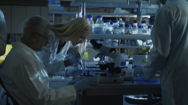 Group of caucasian scientists in white coats are working in a modern laboratory in the evening. video