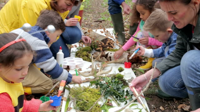 Group Of Children  Looking For Minibeasts At Activity Centre video