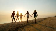 Group of children of different ages with adults are on the beach at sunset. Holding hands, rear view video