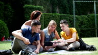 Group of college students relaxing in the park video