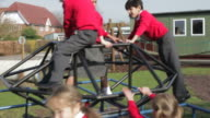 Group Of Elementary School Children On Climbing Frame video