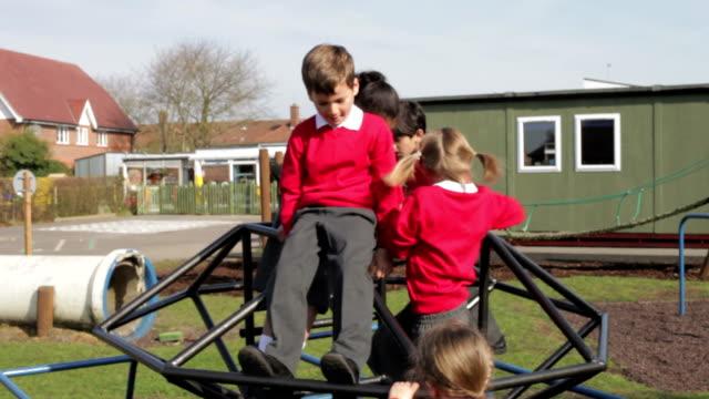 Group Of Elementary School Children On Climbing Frame video