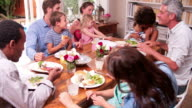 Group Of Families Having Meal At Home Together video