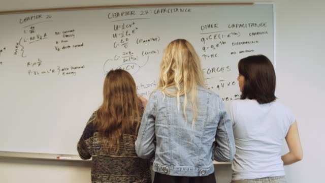Group of female students writing on chalk board video