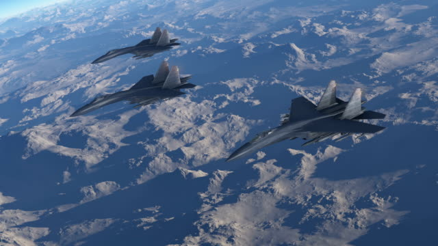 Group Of Fighter Jets Flying High Above The Clouds video