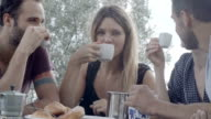 Group of four happy men and women friends smile, laugh and drink coffee during italian breakfast in natural rural scenic outdoor during summer sunny day morning in tuscany - slow-motion HD video footage video