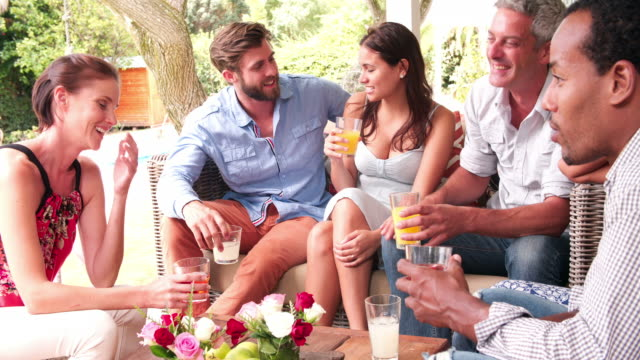 Group Of Friends At Home On Patio Talking Together video
