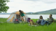 Group of friends camping together in the outdoors video