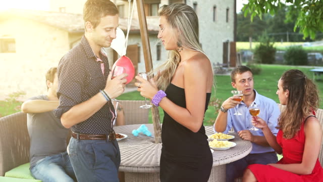 Group of friends drinking wine in cheerful moment video