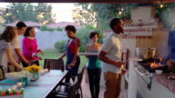 Group of friends enjoying a barbecue together video