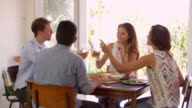Group Of Friends Enjoying At Dinner Party Making A Toast video