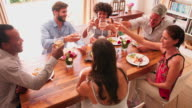 Group Of Friends Enjoying Dinner Party At Home Together video
