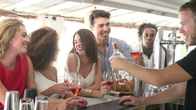 Group Of Friends Enjoying Drink At Outdoor Bar video
