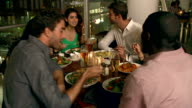 Group Of Friends Enjoying Evening Meal In Restaurant video
