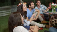Group Of Friends Enjoying Night Time Party In Garden video