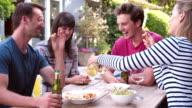 Group Of Friends Enjoying Outdoor Drinks In Garden video