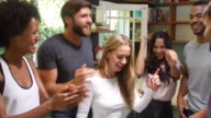 Group Of Friends Enjoying Party And Dancing At Home video