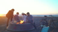Group of friends hanging out on the beach at sunset video