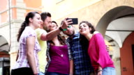 Group of friends have a selfie together video