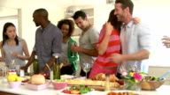 Group Of Friends Having Dinner Party At Home video