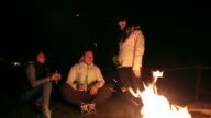 Group of friends having fun near the fire at mountain cabin. video
