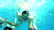 Group of friends having fun underwater. video