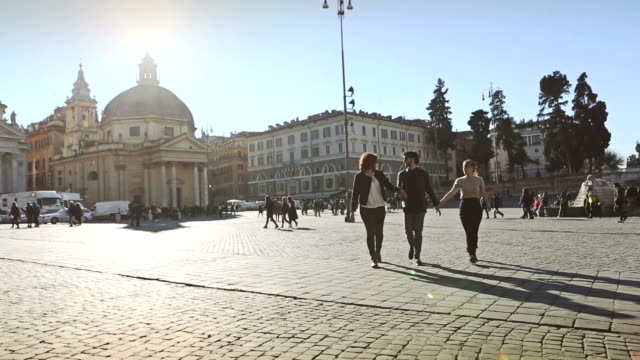 Group of friends in Rome walk and jump video