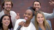 Group of friends karaoke singing video