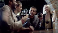 Group of friends makes a toast, smiles and drinks wine in rural farm-house, tuscany, italy, at night - slow-motion HD video footage video
