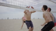 Group of friends playing beach volleyball video