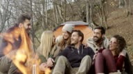 Group of friends sitting by campfire video