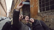 Group of friends taking a selfie in Rome video