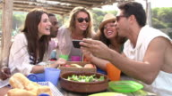 Group Of Friends Taking Selfie During Lunch Outdoors video