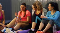 Group of Friends Talking After a Fitness Class video