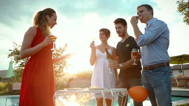 Group of friends tossing wine in social gathering video