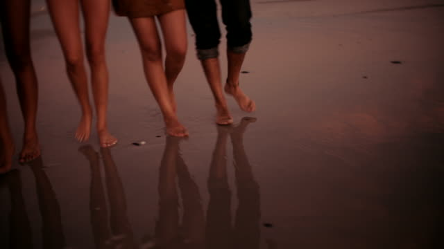 group of friends walking barefoot and happy on sandy beach video