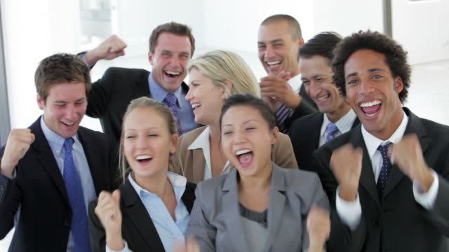 Group Of Happy And Positive Business People Celebrating video