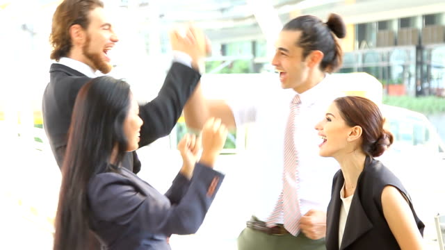 Group Of Happy And Positive Business People Celebrating.HD format. video