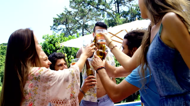 Group of happy friends toasting beer bottles and glasses at outdoors barbecue party video