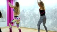 Group of happy women doing 'Zumba' dance fitness in class video
