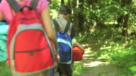 Group of kids hiking on trail video