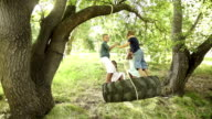 Group of kids swinging on tire video