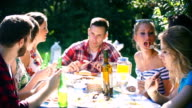 Group of mid 20's people having lunch outdoors. video