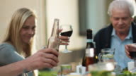 Group of Mixed Race People Having Fun, Celebrating and Raising Glasses at Family Dinner. video