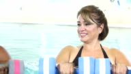 Group of multiracial  women in water aerobics class video