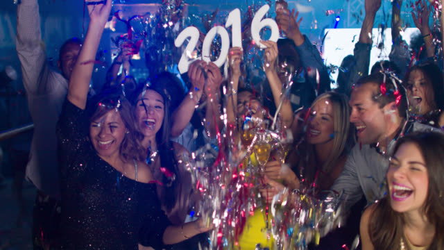 Group of people celebrating New Years video