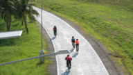 Group of people cycling Bicycle in bicycle lane video