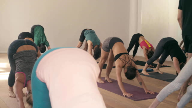 Group of people in yoga studio video