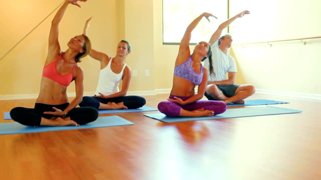 Group of People Relaxing and Doing Yoga. Wellness and Healthy Lifestyle. video