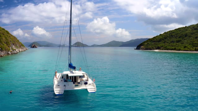 Group of people relaxing on a catamaran in Caribbean video